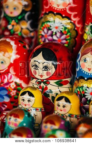 Colorful Russian Nesting Dolls Matreshka At Market.