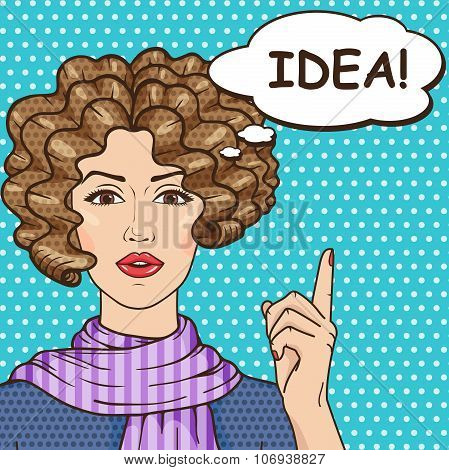 Vector idea Concept, Pop Art Girl With Speech Bubble And Message Idea!