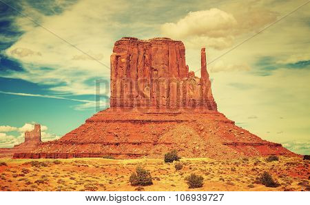 Old Film Style Photo Of Monument Valley, Utah, Usa.