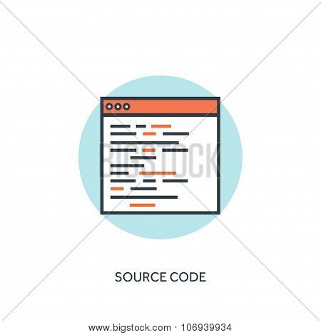 Flat lined document with code. Coding and programming.