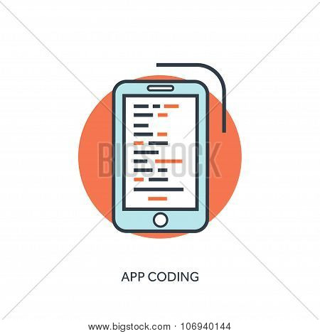 Flat lined document with app code. Coding and programming.