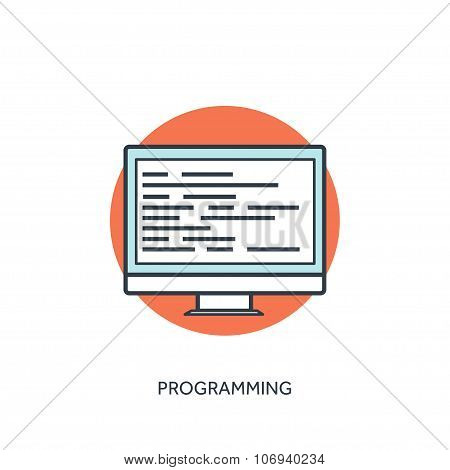 Coding and programming icon with lined computer.