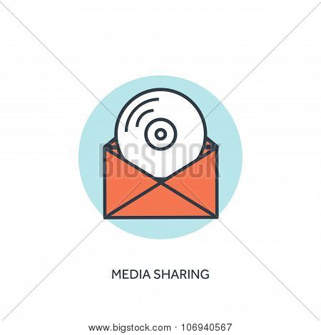 Flat lined compact disk icon. Email icon. Media sharing