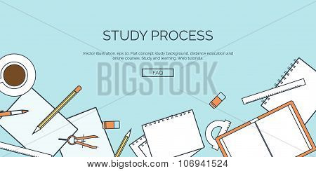 Vector illustration. Flat backgrounds set. Distance education and learning. Online courses and web s