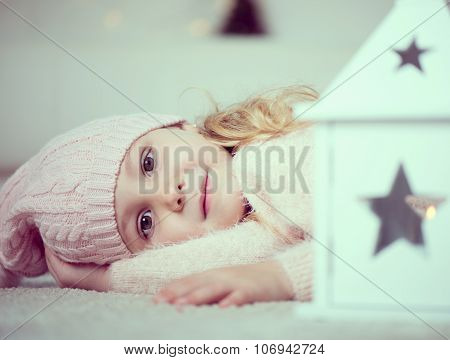 Portrait Of Cute Girl At Christmas Time