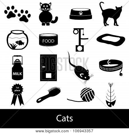 Cats Pets Items Simple Black Icons Set Eps10