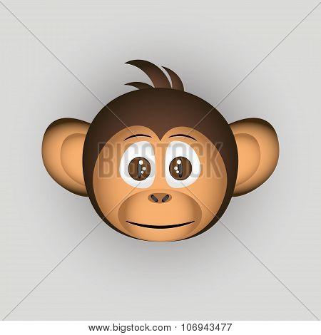 Chimpanzee Little Monkey Head Cartoon Character Eps10