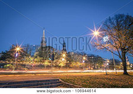 Riga By Night - Skyline Cityscape Of Latvian City - Capital Of Culture 2014 - European Famous City