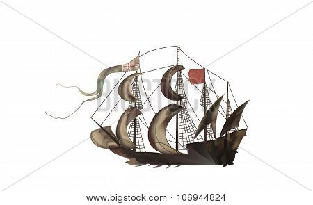 Vintage Illustration Of A Medieval Sailing Frigate