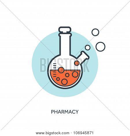 Vector illustration. Pharmacy. Flat web internet icon. Flask set.
