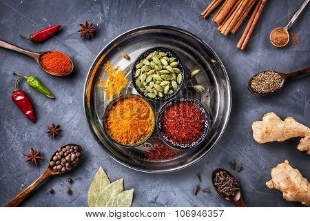 Various Spices On Grunge Background