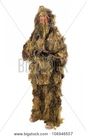 Man in Ghillie suit with sniper rifle isolated on white