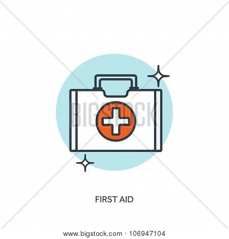 Vector illustration. Medical icon. First aid help and diagnosis.Medical research and therapy. Global