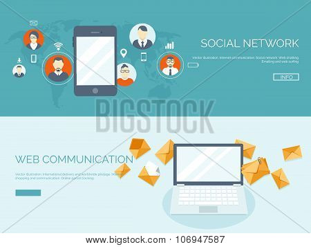 Vector illustration. Flat header.  Business communication and correspondence. Social network. Global