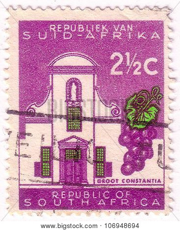 South Africa - Circa 1961: A Stamp Printed In South Africa Shows Groot Constantia, The Oldest Wine E