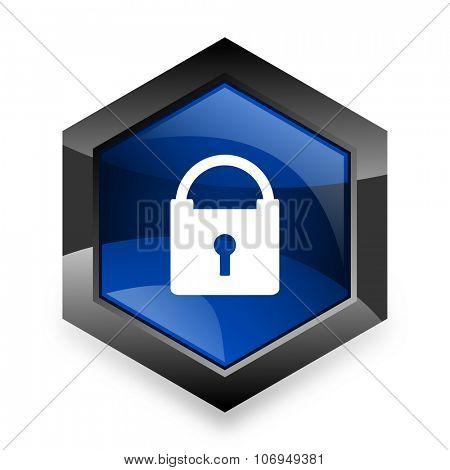 padlock blue hexagon 3d modern design icon on white background