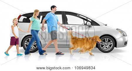 Happy Family Walking Car Transportation Concept