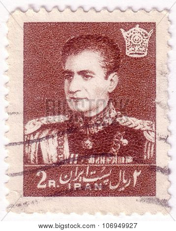 Iran - Circa 1958: A Stamp Printed In Iran, Shows A Portrait Of Mohammad Reza Shah Pahlavi, Circa 19