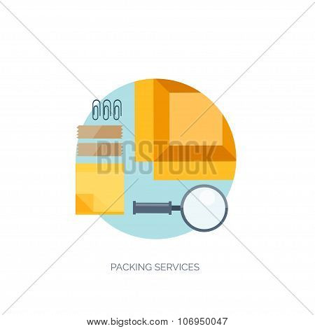 Vector illustration. Flat background. Delivery and package. Courier.  Loupe, sticky notes. Packaging