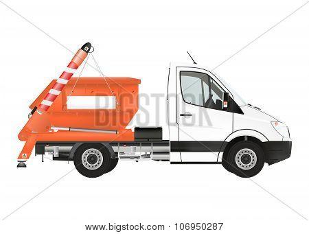 Skip loader truck