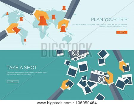 Vector illustration. Flat backgrounds set. Navigation and travelling.  Map pointer and location find