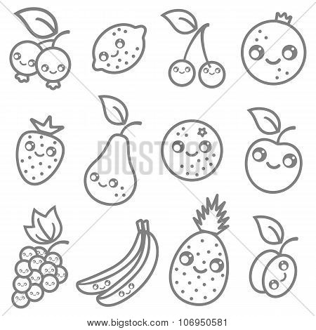 flat illustration of a fruits