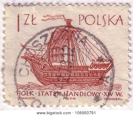 Poland - Circa 1963: A Post Stamp Printed In Poland And Shows Ancien French Sailing Ship, Circa 1963