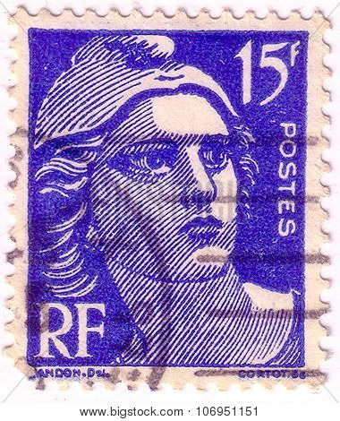 France - Circa 1951: Blue Color Postage Stamp Printed In France With Image Of Marianne, The National