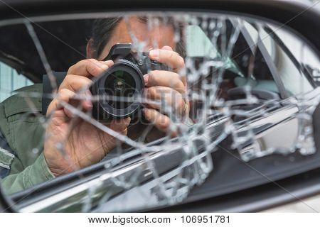 Mirror Image, A Photographer In The Broken Mirror