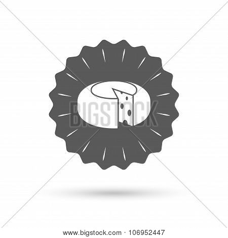 Cheese wheel sign icon. Sliced cheese.