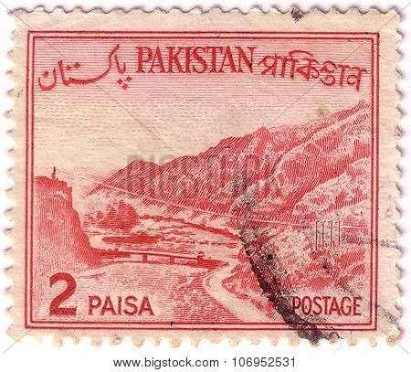 Pakistan - Circa 1960: A Stamp Printed In Pakistan Shows Khyber Pass, Mountain Pass Connecting Afgha