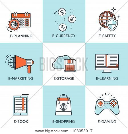 Vector illustration. Set of flat backgrounds with lined borders. Internet browsing and cloud computi