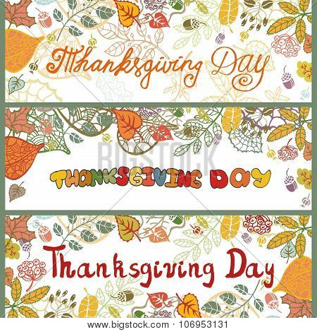 Thanksgiving day banners.Colored Autumn leaves