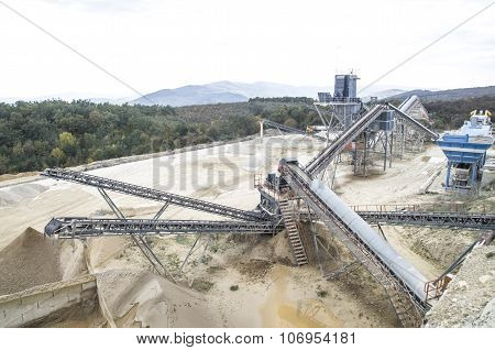 Belt Conveyors In Gravel Quarry