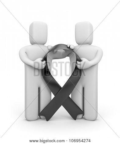 Black awareness ribbon mourning symbol