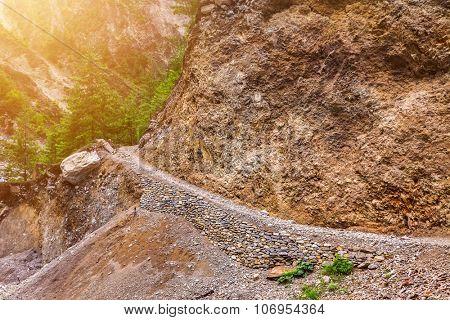 beautiful mountains landscape from stone pathway in Nepal, Annapurna trekking