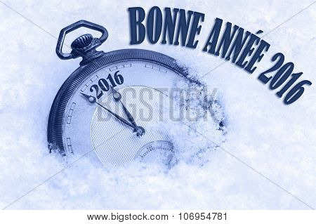 Happy New Year 2016 greeting in French language bonne annee text