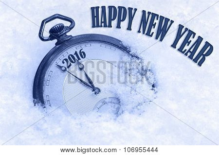 Pocket watch in snow Happy New Year 2016 greeting card