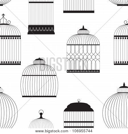 Vintage Birdcages Silhouettes Seamless Pattern Vector Illustrati