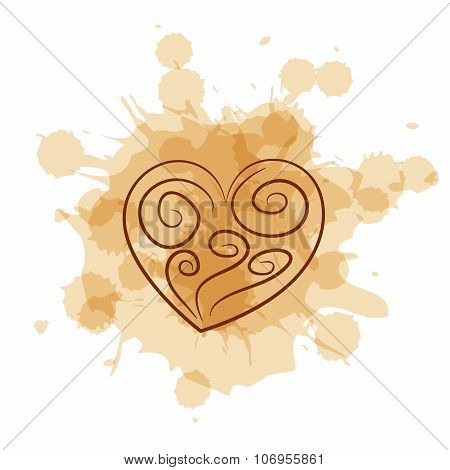 Abstract Heart On Coffee Stain Background.