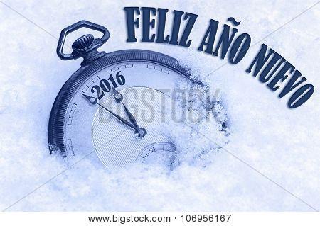 Happy New Year 2016 greeting in Spanish language Feliz ano nuevo text