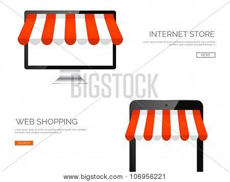 Vector illustration. Monitor and tablet. Online store, internet shopping. Web deals and currency.