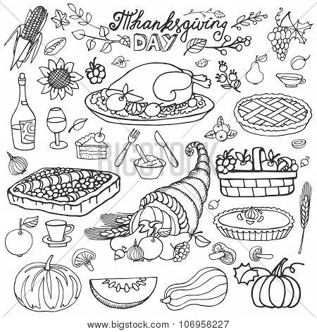 Thanksgiving day.Doodle food icons.Linearset