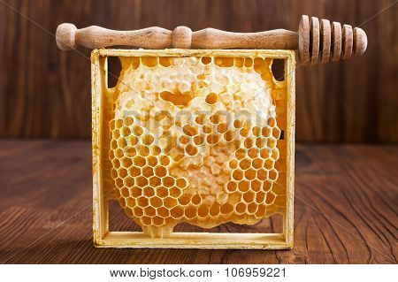 Honeycombs  On A Wooden Table
