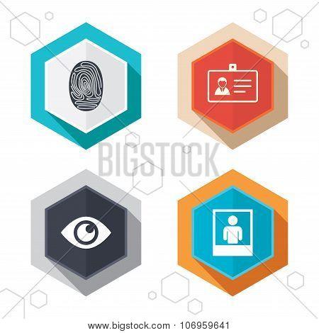 Identity ID card badge icons. Eye symbol.