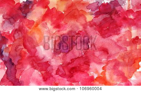 Abstract Artistic Watercolor Background Texture With Pink Brushstrokes And Stains