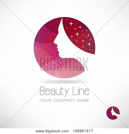 Vector Logo. Profile Of Woman In Circle on pink background.