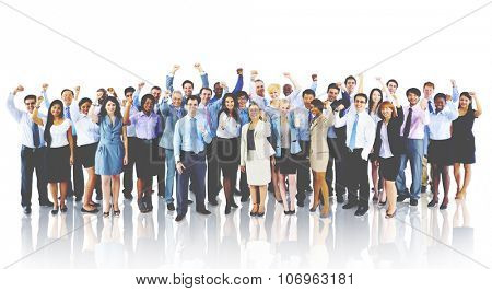 Crowd Business People Celebration Success Team Concept