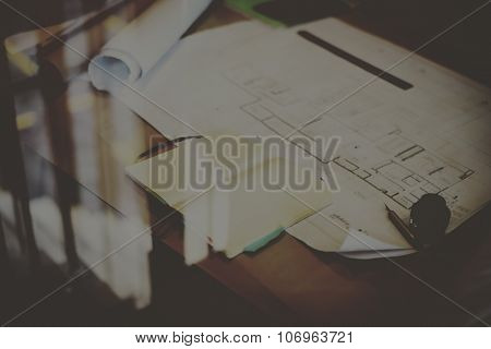 Construction Blueprint Project Working Planning Concept