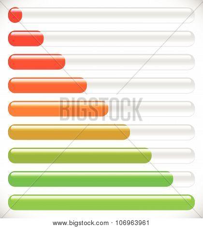 Horizontal Progress, Loading Bars. Steps, Phases, Progression.